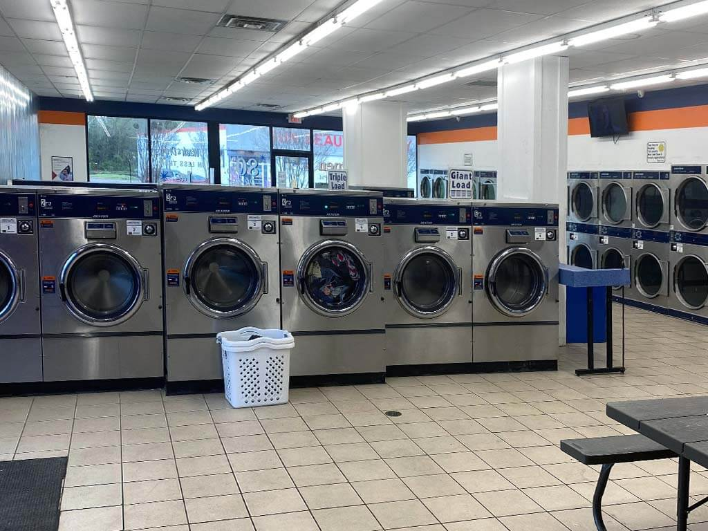 daniel lake interior stainless steel coin laundry machines